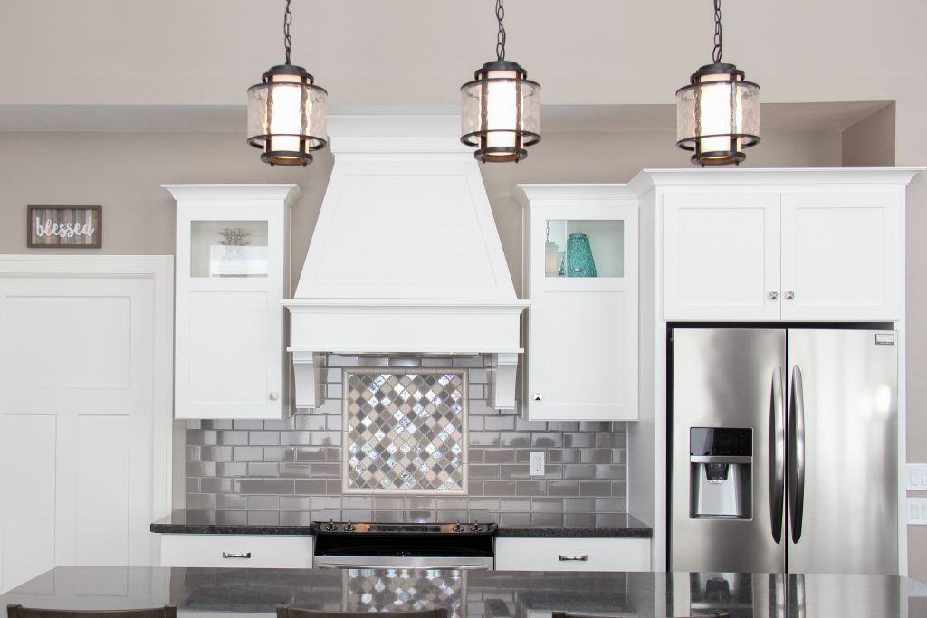 Gray Tiled Kitchen Backsplash With Accent Stove Tile Grey Tile Backsplash Kitchen Grey Kitchen Tiles Kitchen Tiles Backsplash