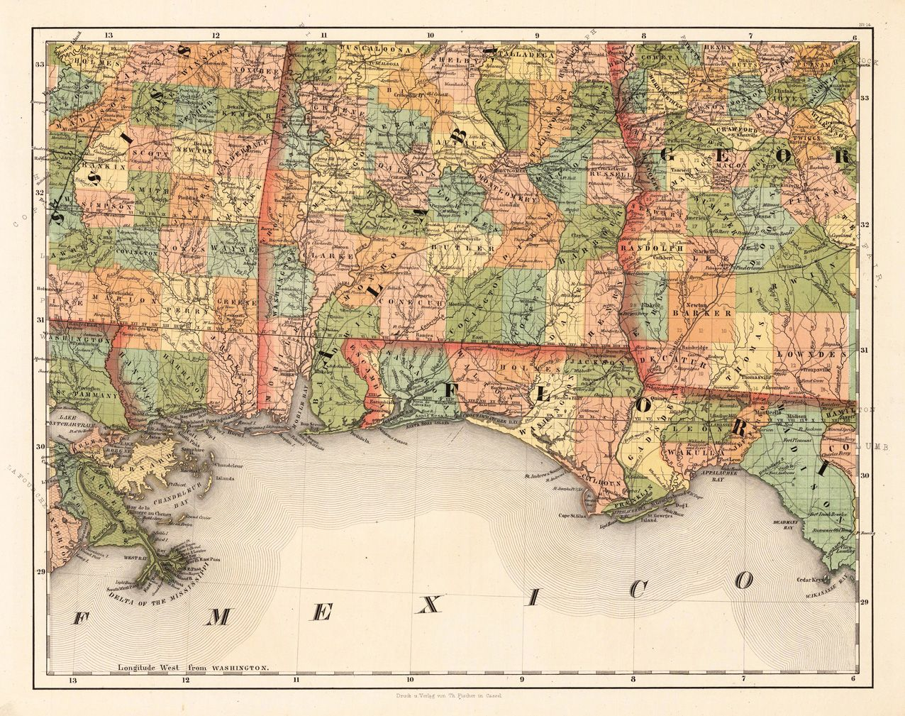Alabama Florida No By Smith J Calvin Mapas - Map of alabama and florida