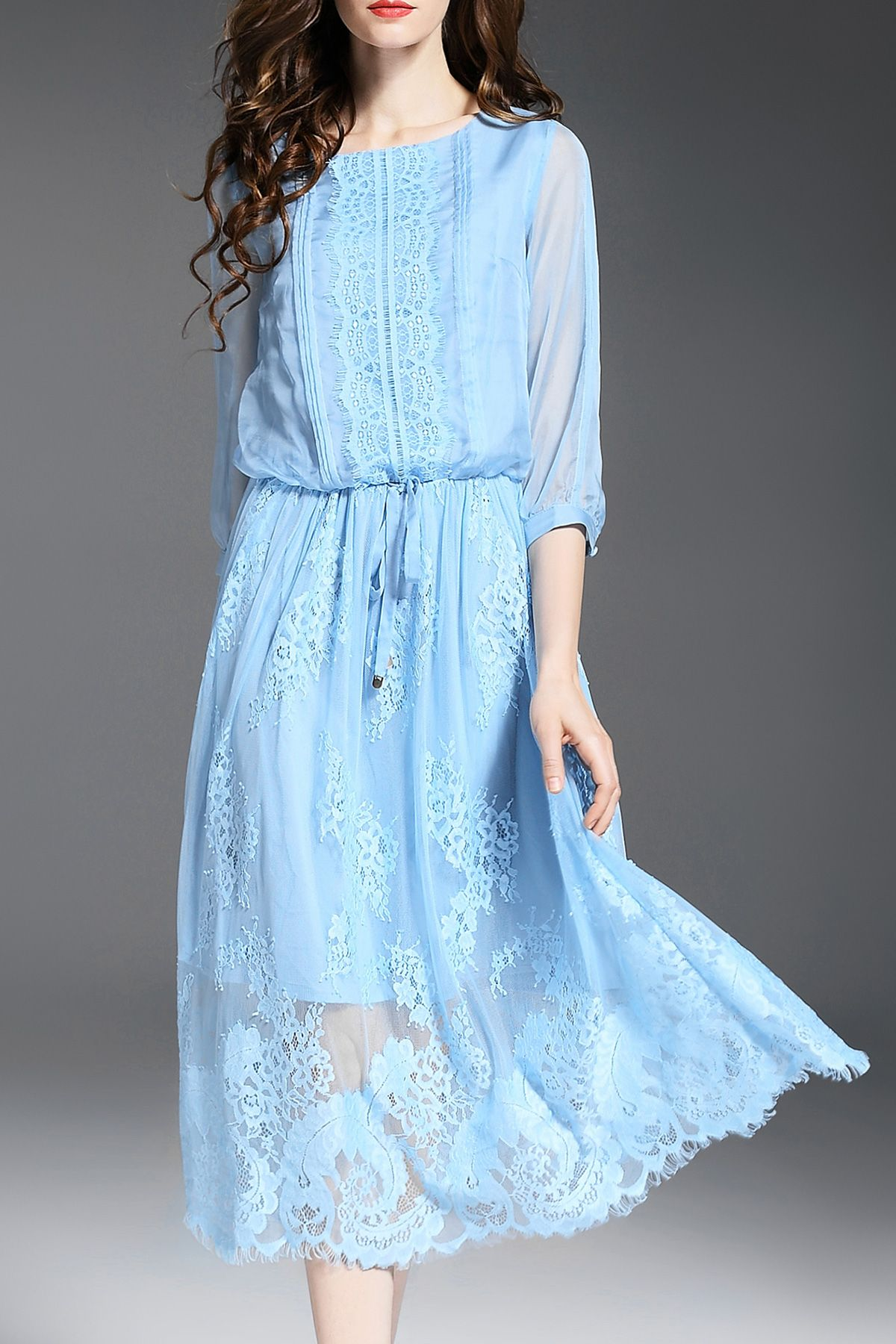 Solid Color Drawstring Lace Spliced Dress