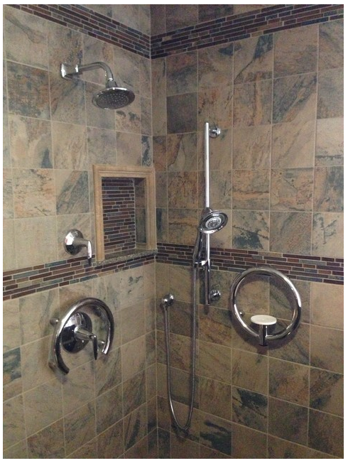 Luxury Bathroom Grab Rails this shower has it all - beautiful tile, modern grab bars, shower