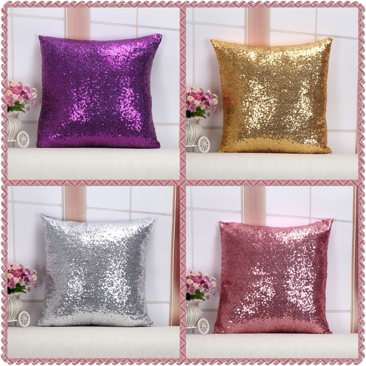 Maiyubo european sequins pillow cover nordic pure color throw pillow