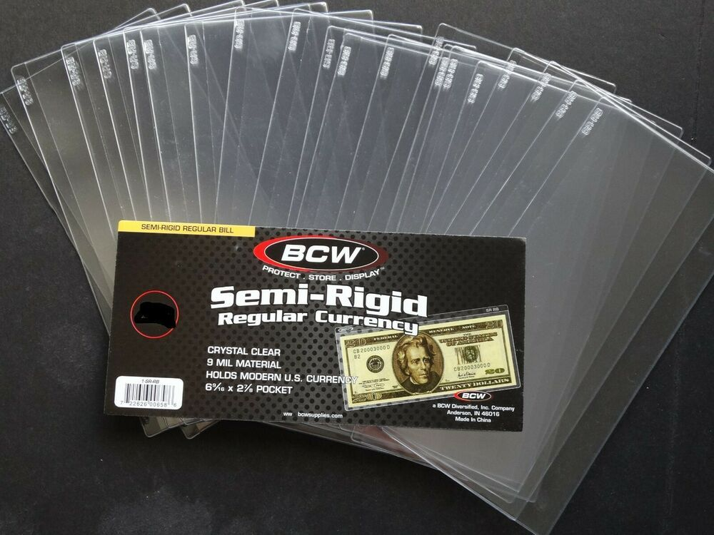 5 Loose BCW Soft Sleeve Large Dollar Bill Currency Sleeve Protectors Holders