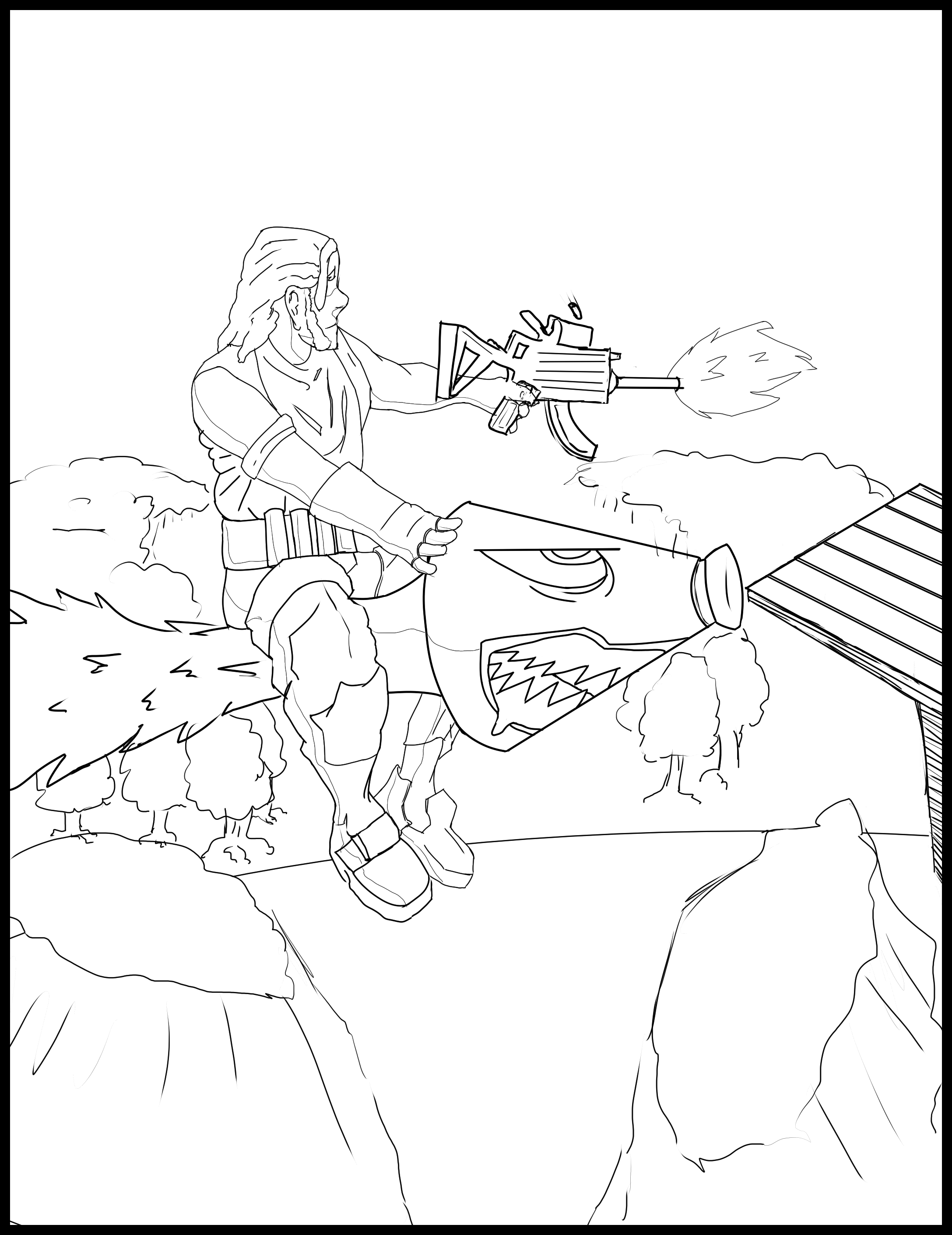 Fortnite Coloring Page (Fan Made) Fun For Kids to Color