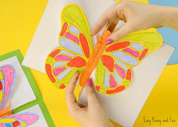Diy Butterfly Pop Up Card With A Template Diy Butterfly Paper Butterfly Crafts Bug Crafts