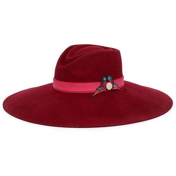 7952644f Henri Bendel Love Birds Wide Brim Hat (4,645 INR) ❤ liked on Polyvore  featuring accessories, hats, cap, headwrap, dark pink, wide brim wool hat, wool  hat, ...