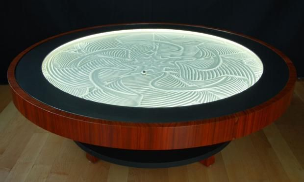 Hypnotic Coffee Table Creates Sand Art With a Magnetic Marble Sand