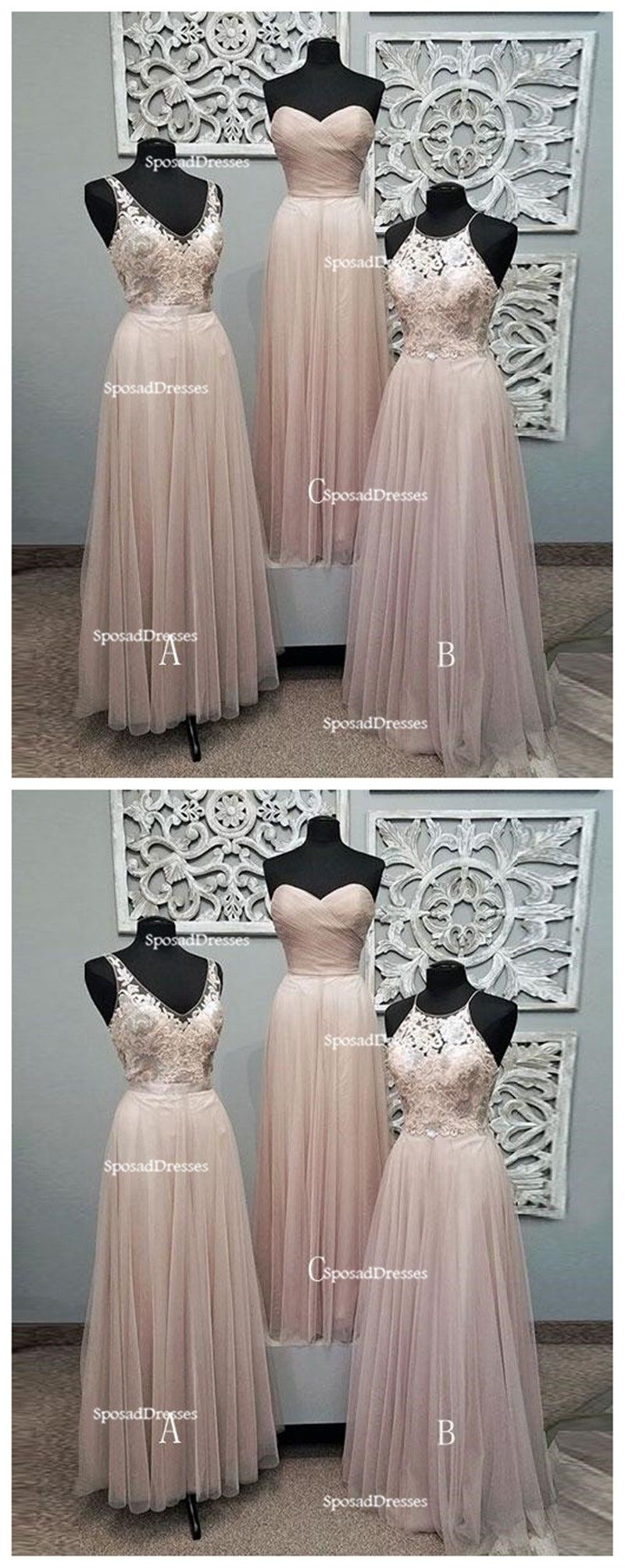 Mismatched pale blush pink lace custom bridesmaid dresses cheap