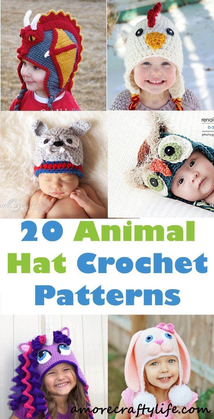 animal hat crochet patterns - crochet pattern pdf - amorecraftylife.com #hat #baby #crochet #crochetpattern #crochethats