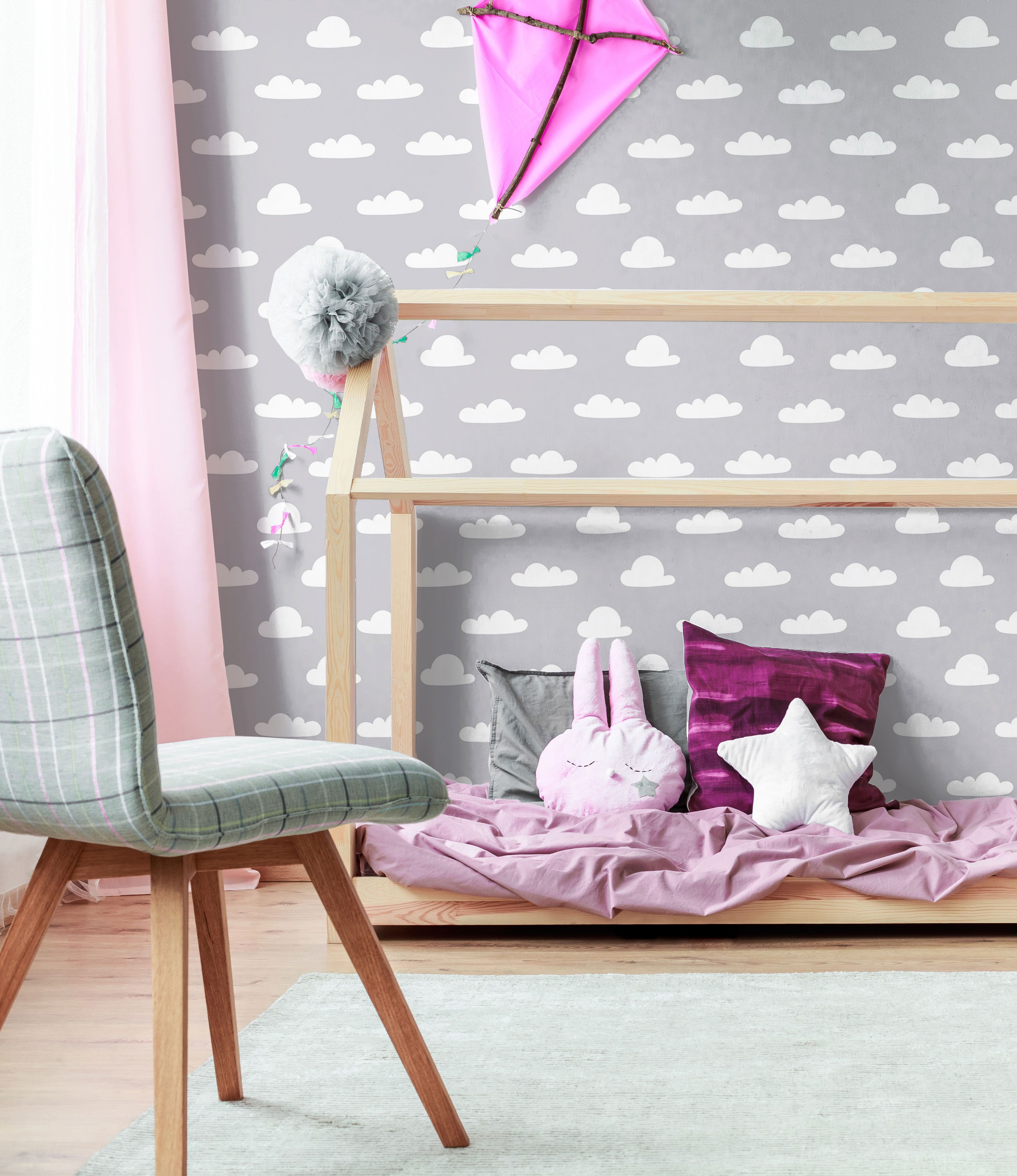 Creating A Light And Airy Space White And Silver Clouds Baby Fabric Removable Wallpaper In 2020 Baby Fabric Peel And Stick Wallpaper Removable Wallpaper