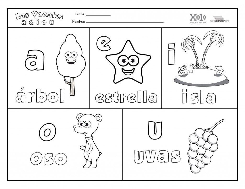 Vocales Para Colorear Y Para Imprimir Dibujos Para Preescolar