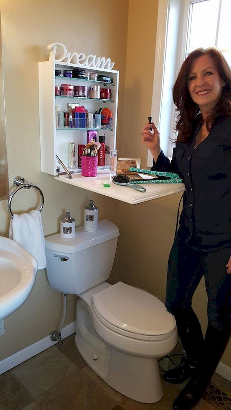 Hidden Makeup Storage for a small Bathroom.  Tiny house furniture