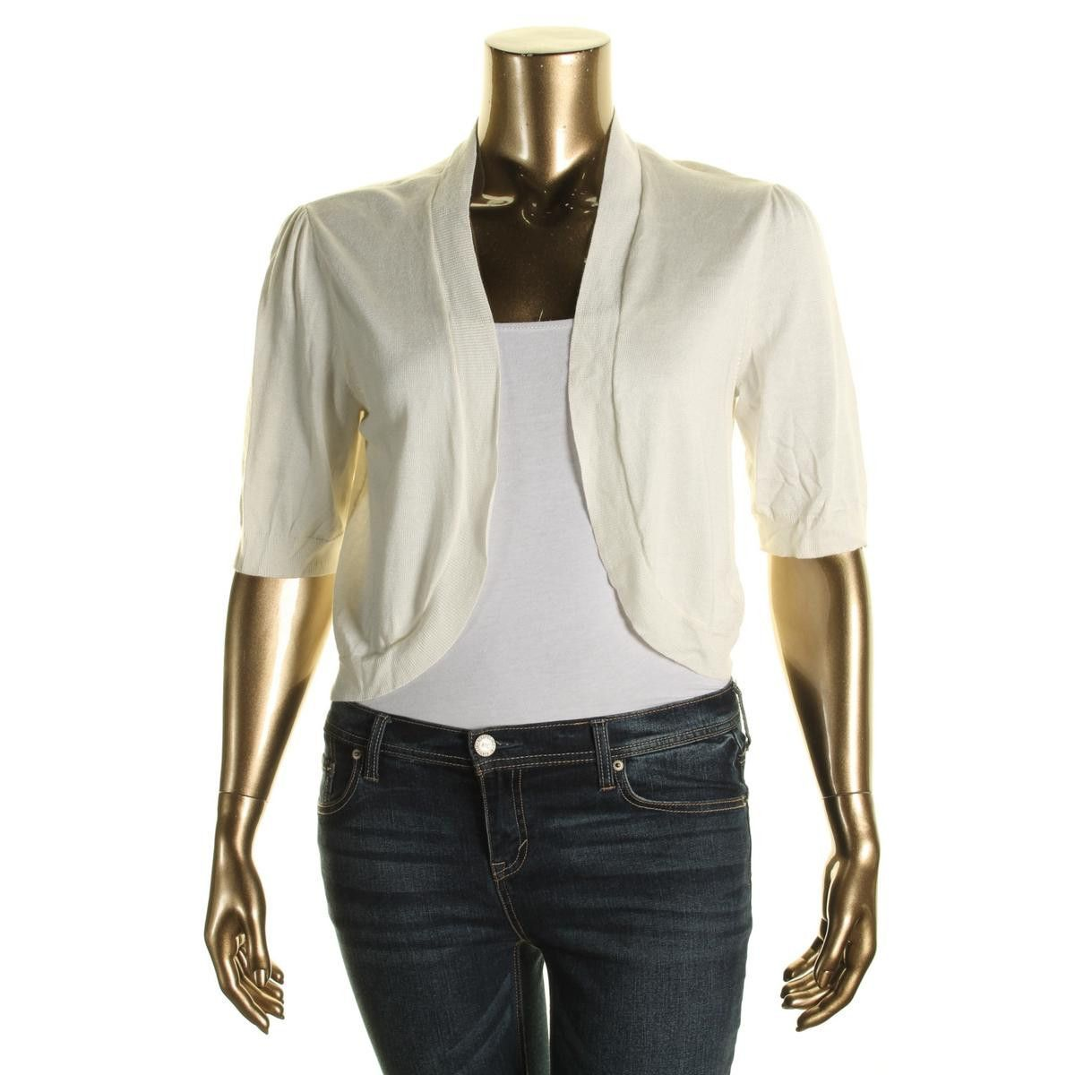Lauren Ralph Lauren Womens Cotton Blend Elbow Sleeves Shrug Sweater