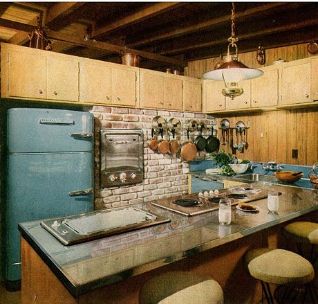wonderful diy kitchen island decorations ideas real house design | vintage 1950s kitchen, lots of surface variety and a blue ...