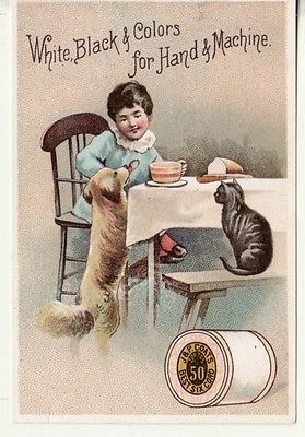 Victorian Trade Card   JP COATS SEWING THREAD / Child, Dog  Cat