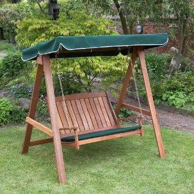 New Swinging Summer 2 Seater Wooden Garden Hammock Hardwood Swing Seat