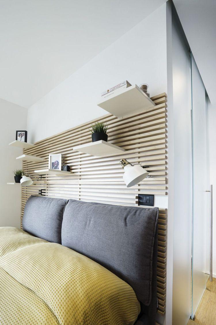 Hervorragend Schlafzimmer Bett Kopfteil Holz Deko