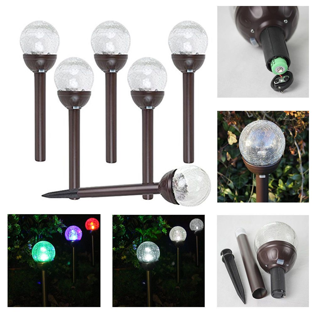 6 Piece Crackle Glass Globe Color Changing White Led Solar Path Lights Bronze Solascape Color Changing Led Glass Globe Crackle Glass