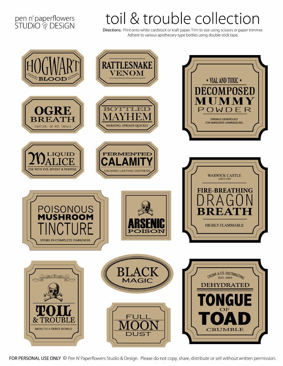 marvelous apothecary jar labels toil u trouble collection page image