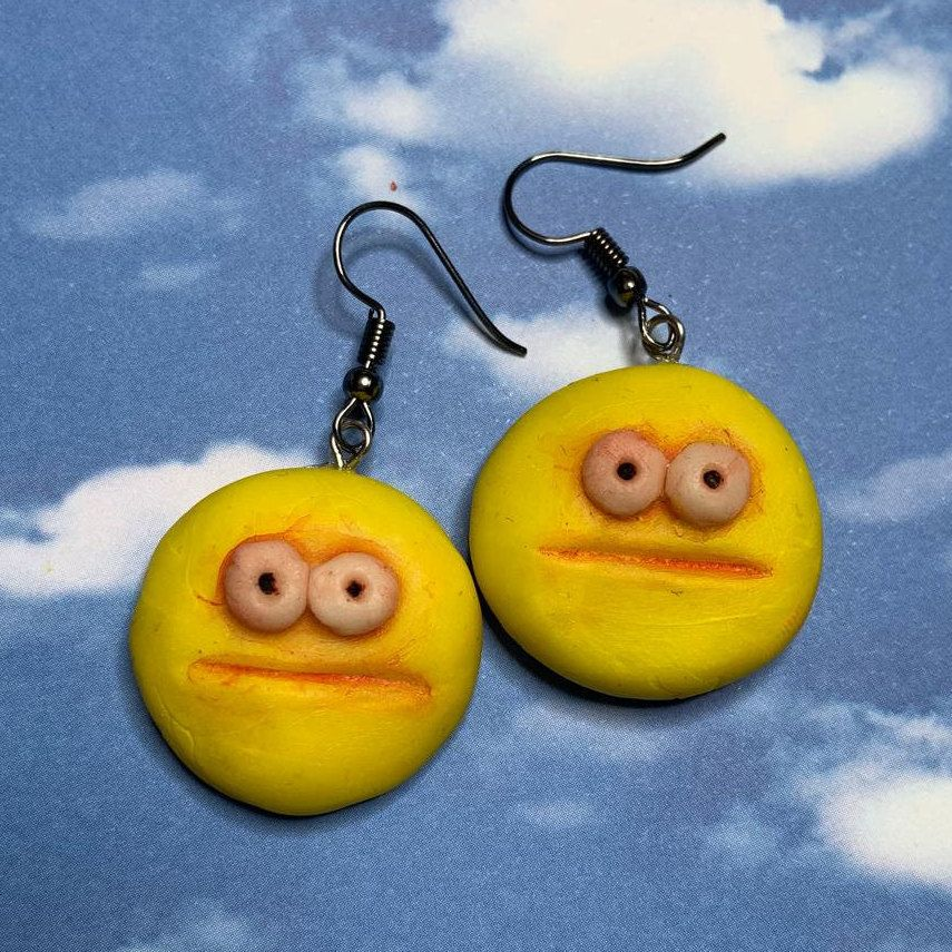 Vibe check emoji earrings