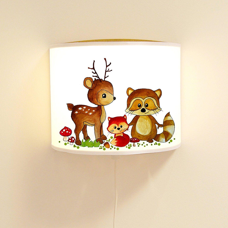 Leseschlummerlampe leselampe schlummerlampe wandlampe lampe waldtiere mit reh waschb r und fuchs - Wandlampe kinderzimmer madchen ...