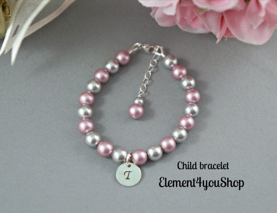 Child Pearl Bracelet, Flower Girl wedding gift, Initial Sterling Silver monogrammed Charm, Personalized girl Bracelet, light rose pink pearl
