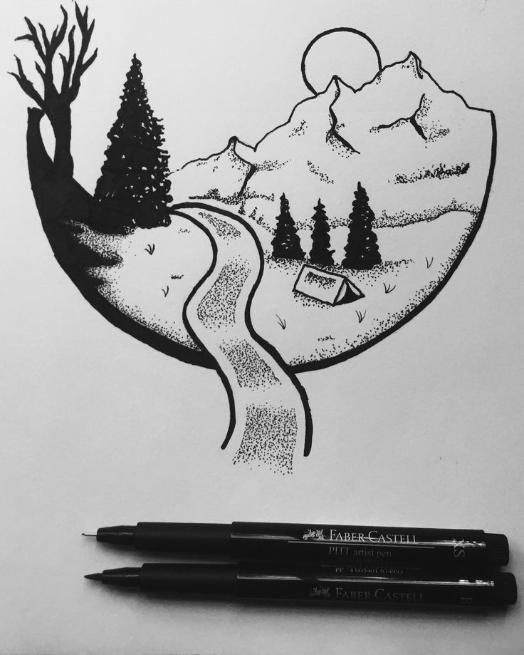Pin By Kang Ocho On Mountain Art With Images Easy Pen Drawing