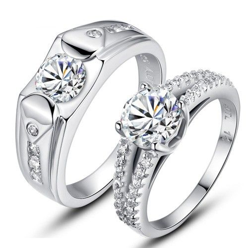 3d682988c4 Original 925 sterling silver plated 18K white gold couple rings in ...