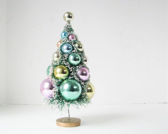Vintage Christmas Tree  Pastel  Bottle Brush  Sparkle by BeeJayKay, $18.00