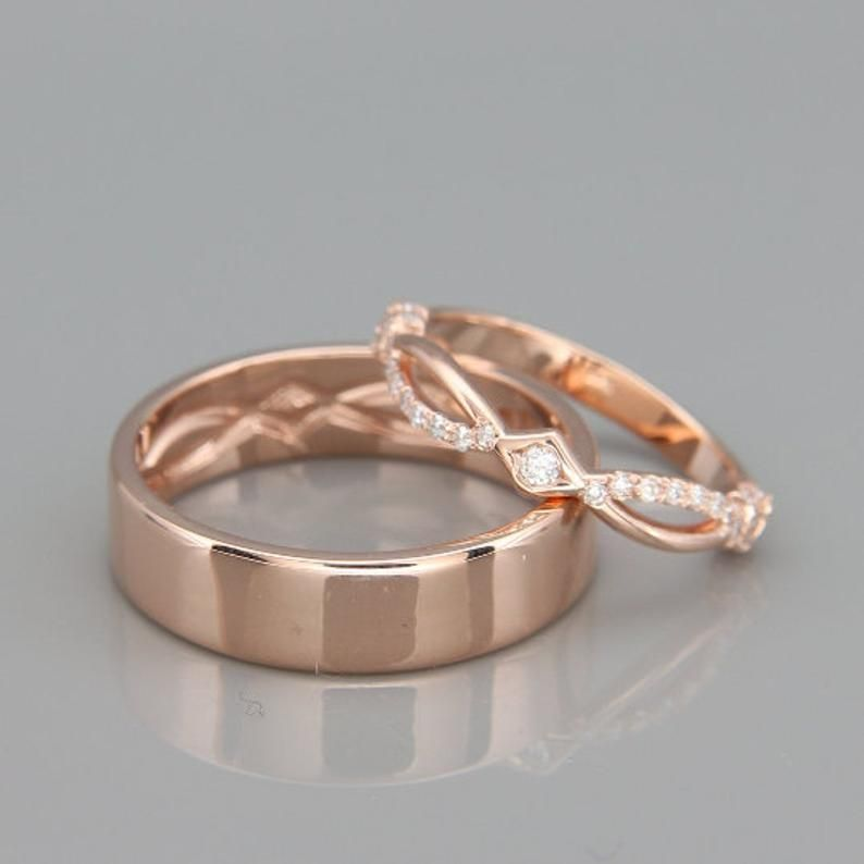 His and Hers Celtic Wedding Band Set | Rose Gold Celtic Wedding Ring Set with Diamonds | Black Rhodium Rose Gold Eternity Wedding Rings