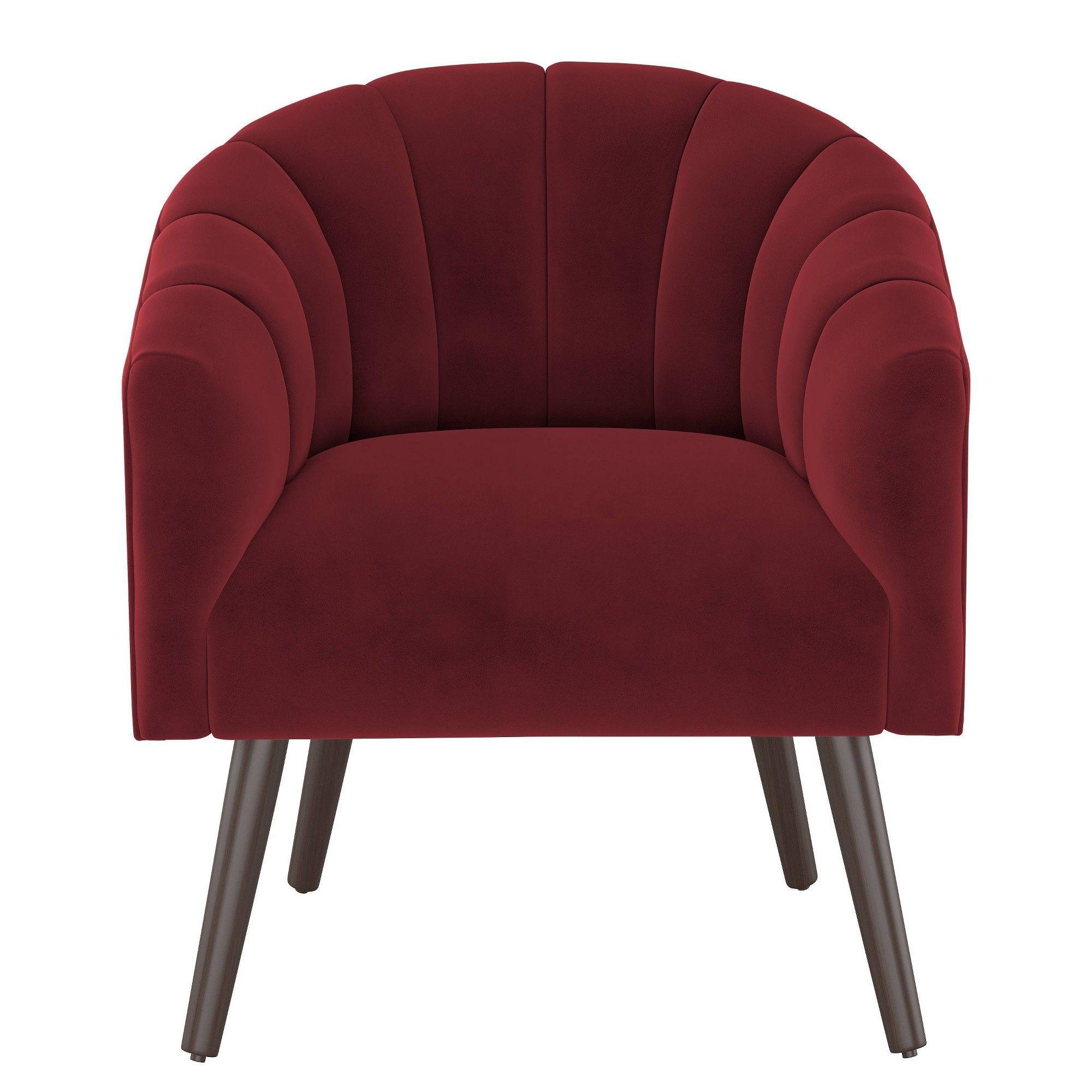 Modern Barrel Chair In Velvet Berry Red Project 62 Barrel