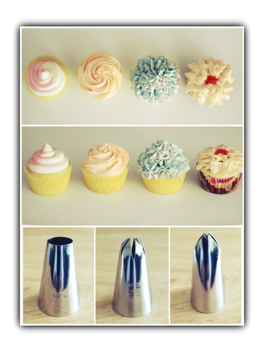 Frosting cupcakes with Wilton Tips. Two toned pink-white swirl -1A ...