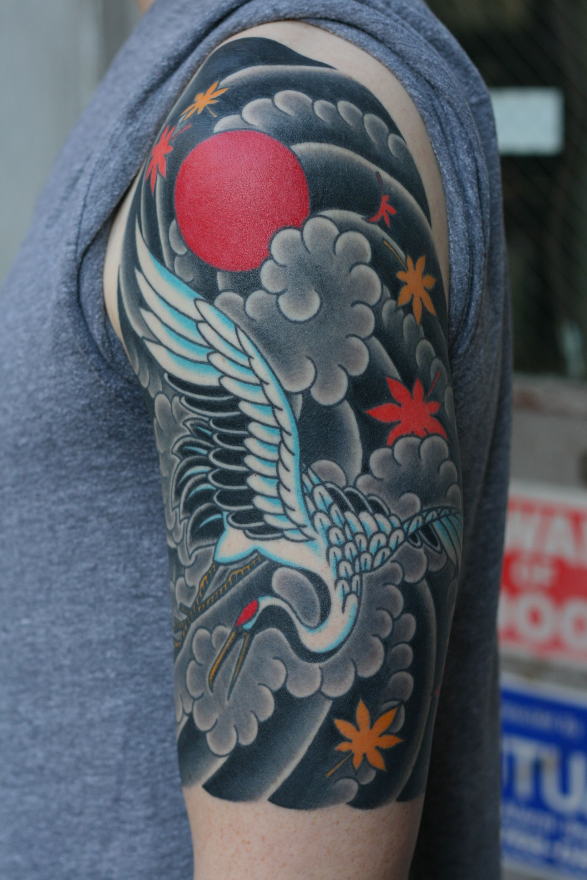 Here Is A Completed Half Sleeve On Andrew He Came In With A Really Loose Idea So We Had A Long Consultat Japanese Tattoos For Men Crane Tattoo Japanese Tattoo