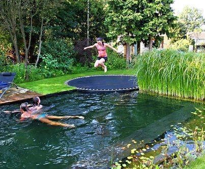 A Trampoline Next To A Pool   I Would Love This!