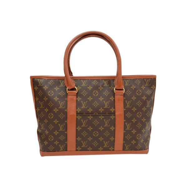 Pre-Owned Vintage Louis Vuitton Sac Weekend Monogram Canvas Tote Bag ($520) ❤ liked on Polyvore featuring bags, handbags, tote bags, brown, tote handbags, brown tote bags, pocket tote, brown tote and monogrammed tote bags