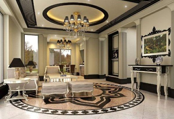 wohnzimmer luxuriös gestalten runde dekoration an der decke ...