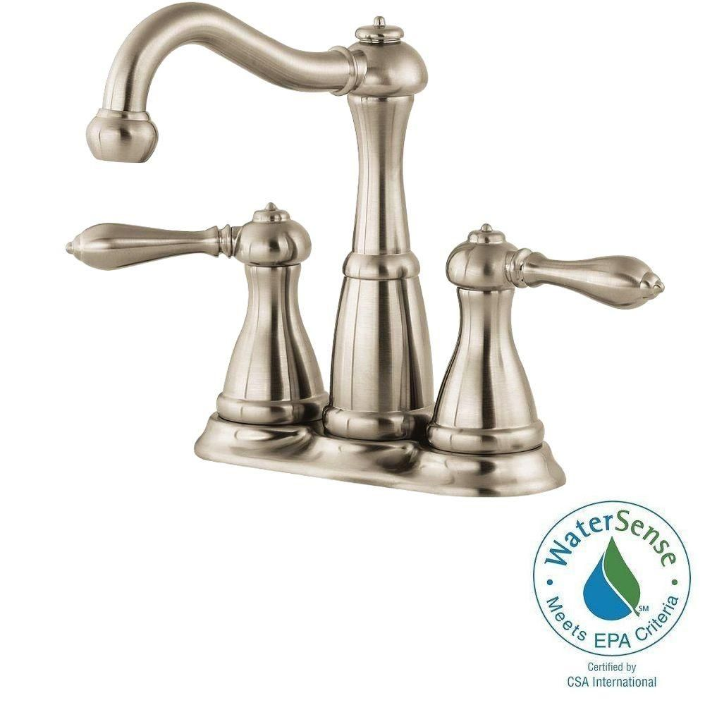 Pfister Marielle 4 In Minispread 2 Handle High Arc Bathroom Faucet In Brushed Nickel High Arc Bathroom Faucet Bathroom Faucets Pfister