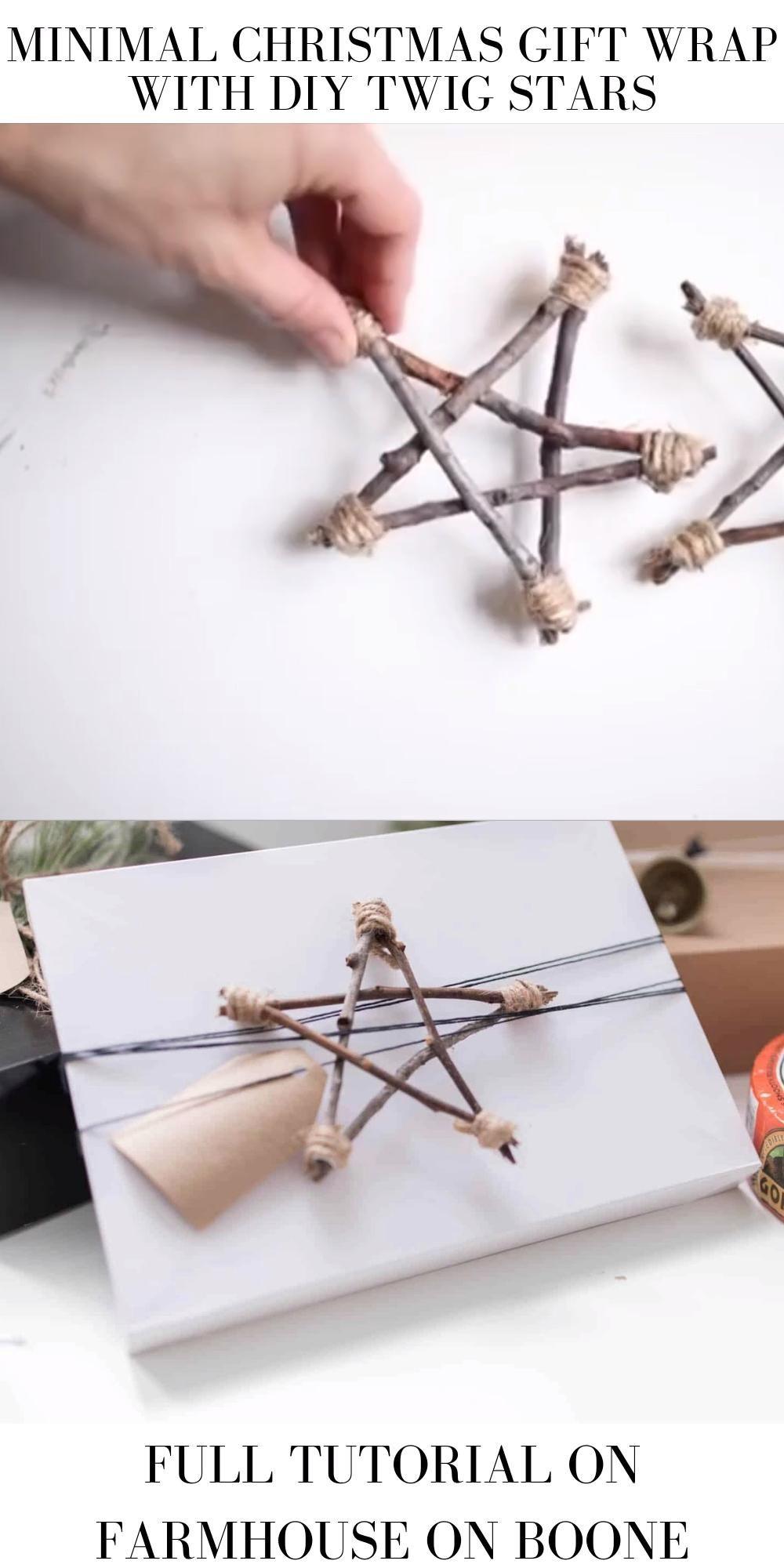 Photo of Minimal Christmas Gift Wrap With DIY Twig Stars