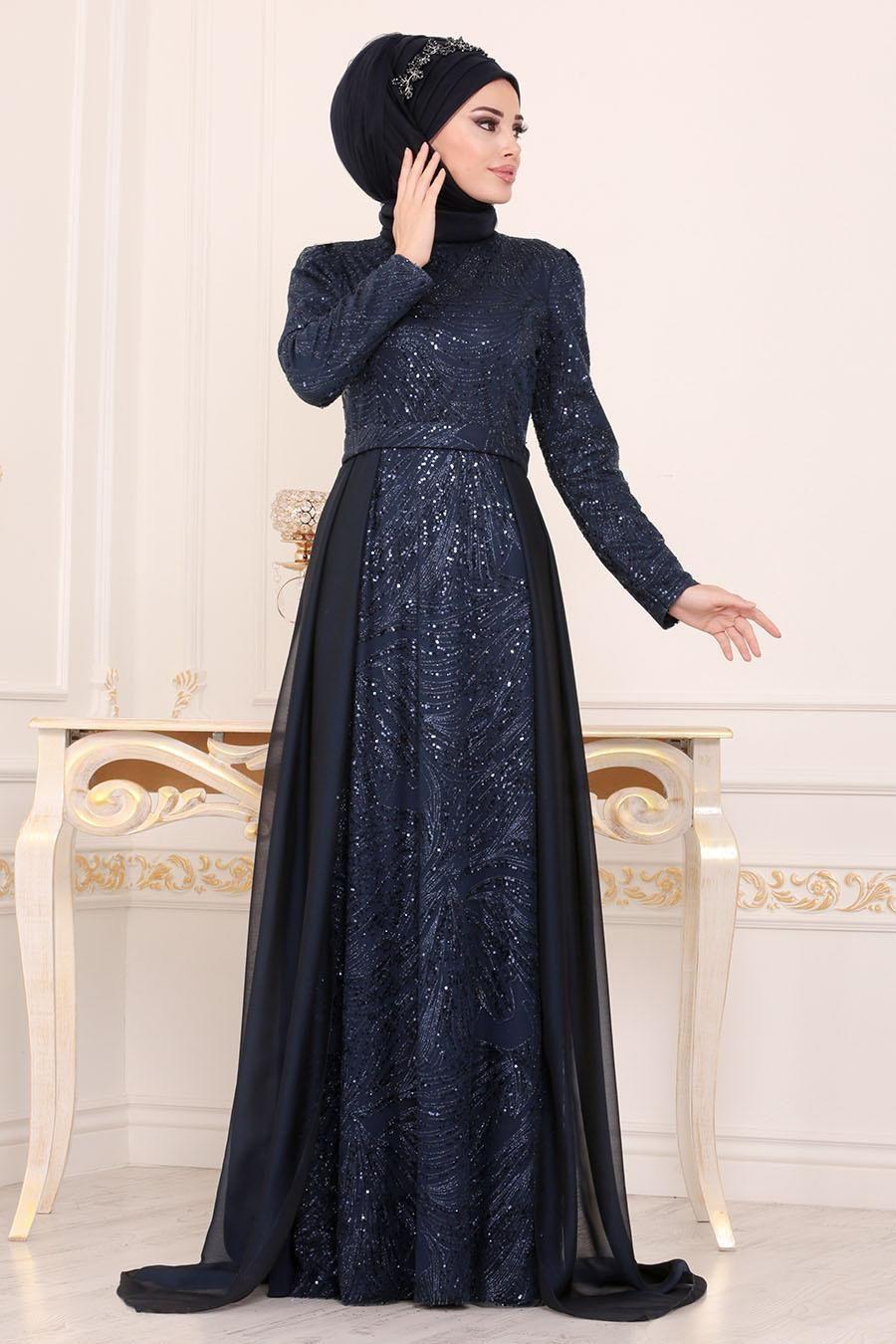 Tesetturlu Abiye Elbise Pul Payetli Lacivert Tesetturlu Abiye Elbise 196711l Tesetturisland Com The Dress Aksamustu Giysileri Musluman Elbisesi