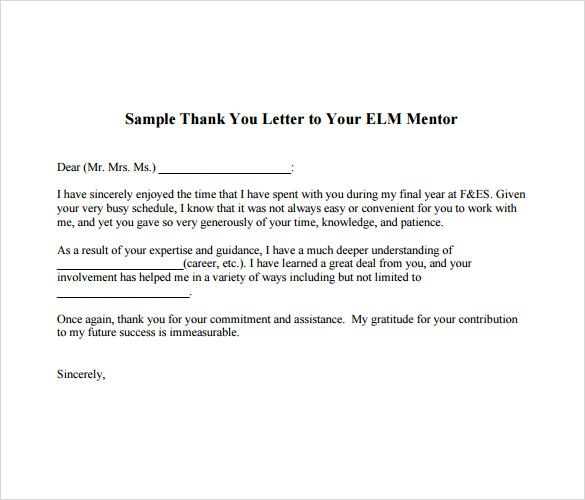Sample Thank You Note Boss Documents Pdf Word Letter Mentor Free