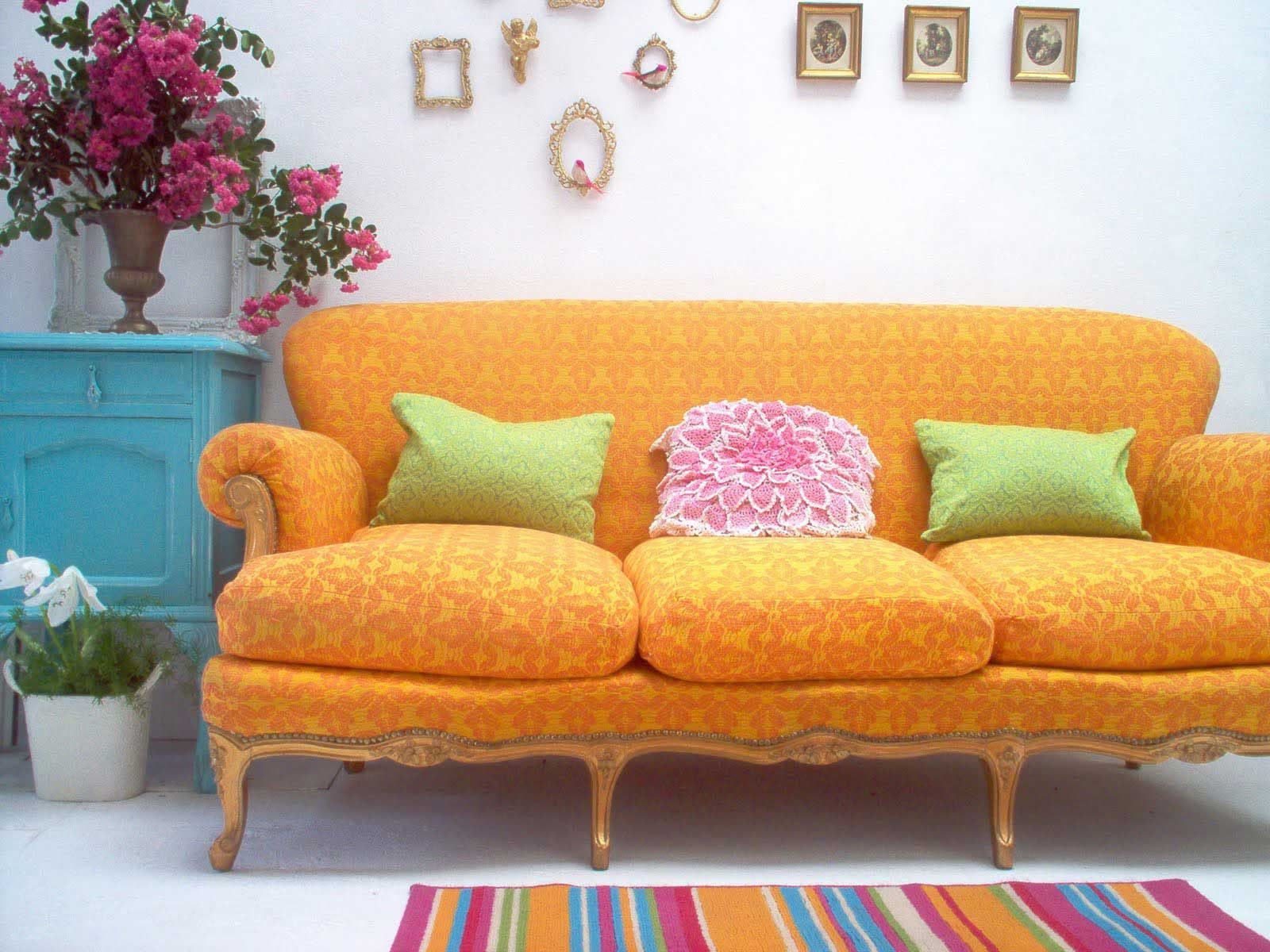 Orange Sofa Can Change The Room More Attractive · Living Room IdeasColorful  ...