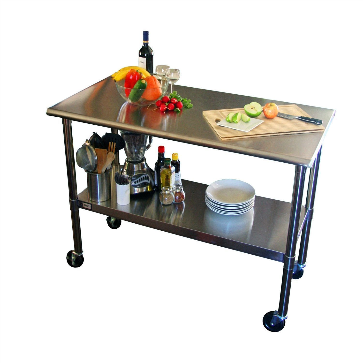 2ft x 4ft Stainless Steel Top Kitchen Prep Table with Locking ...