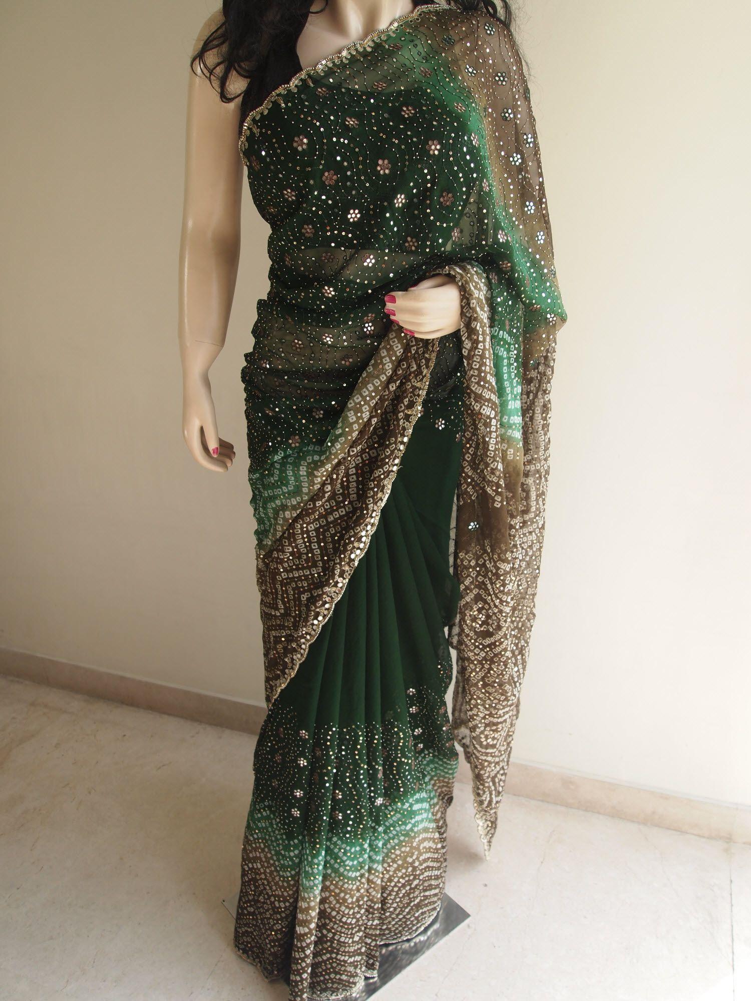 Bottle Green Pure Chiffon Saree With Mirror Work Pure Chiffon Sarees Pure Chiffon Chiffon Saree