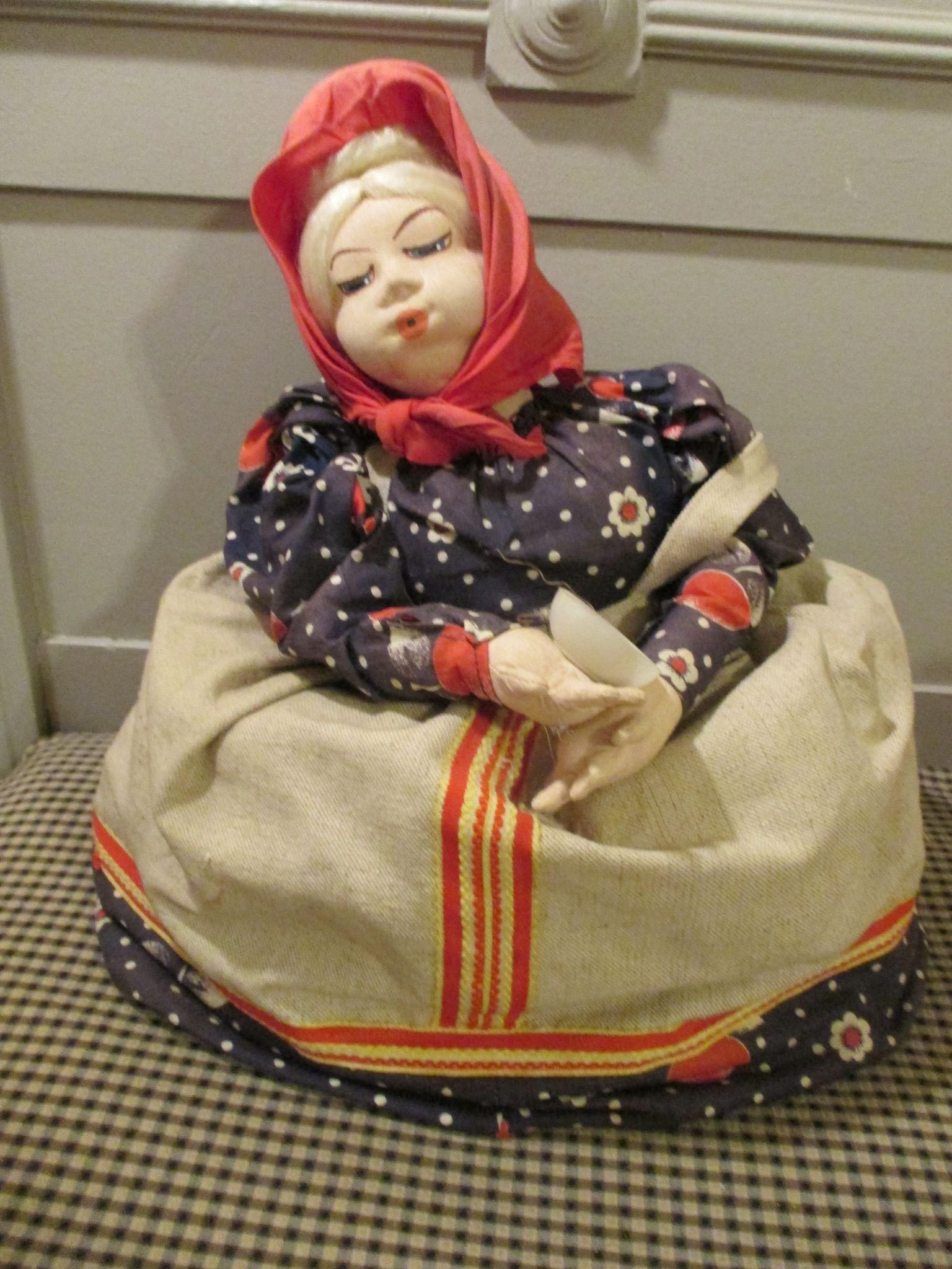 Vintage Doll Embroidered Tea Cozy Cozies Appliance Cover Russian