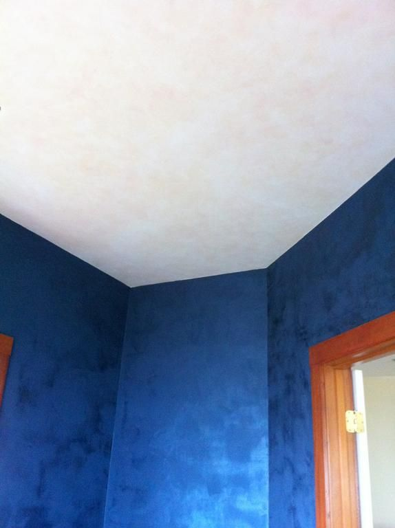 Blue lusterstone office with glazed pearl ceiling am provided by johannas design studio faux painting venetian plaster custom murals vancouver 98683