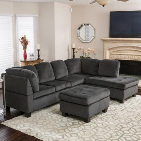 3 Pc Canterbury Sectional Sofa Set In Charcoal Finish Walmart Com Fabric Sectional Sofas 3 Piece Sectional Sofa Sectional Sofa