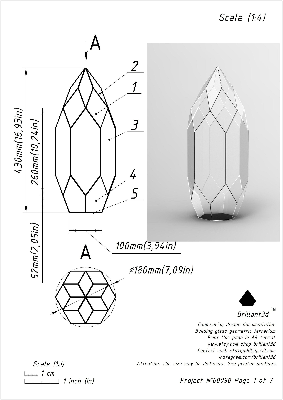Terrarium Schem Printable Pattern Stained Glass Terrarium Kit Handwork Project From Brillant3d Design Stained Glass Digital Project 0080 Glass Terrarium Geometric Art Diy Stained Glass Diy