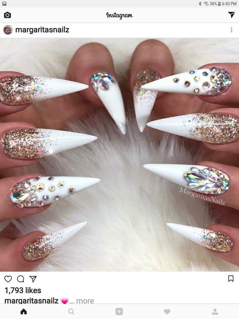 Pinterest Kiania White Stiletto Nails Stiletto Nail Art