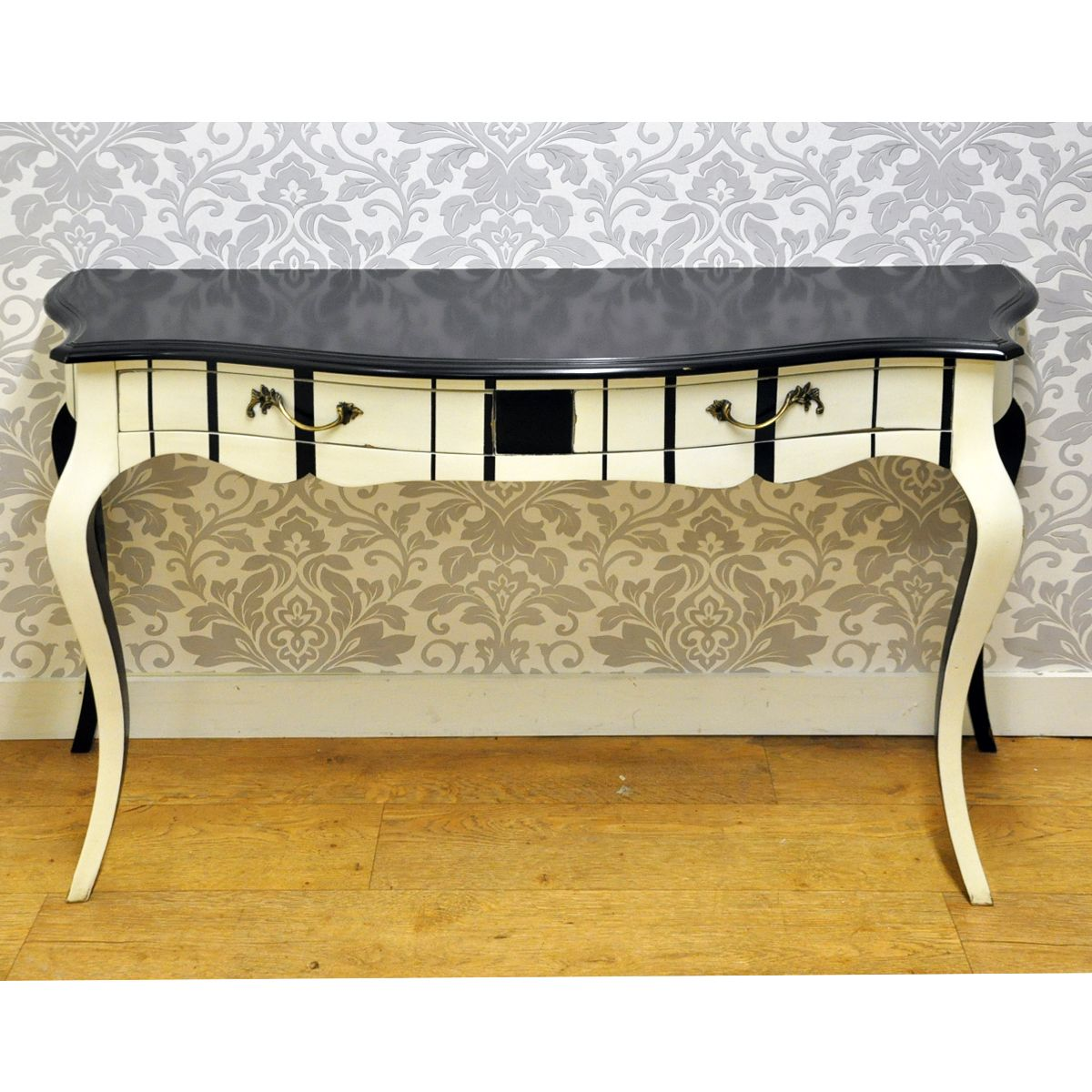 Black & Cream Stripe Painted Hall Console Table | funky hand ...