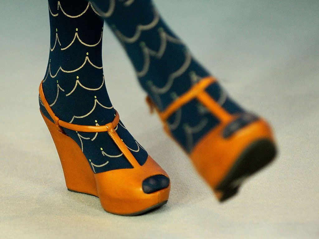 Close up of Miranda July's stockings & peep toes, photographer unknown.