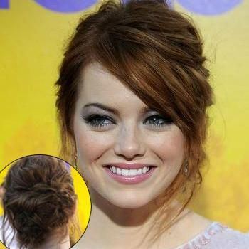Get Emma Stone S Sweet Messy Updo Hair Updos Front Hair Styles Hair Styles